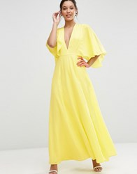 Asos Deep Plunge Cape Sleeve Maxi Dress Yellow