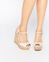 Asos Twirl Wide Fit Wedges Nude Beige