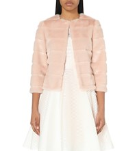 Ted Baker Fabunni Faux Fur Jacket Nude Pink