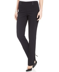 Jm Collection Petite Studded Pull On Pant Deep Black