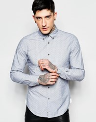 Sisley Slim Fit Flecked Shirt With Button Down Collar Blue