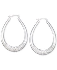 Macy's Large Patterned Teardrop Shape Hoop Earrings In 14K White Gold Vermeil