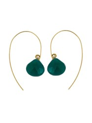 Uzerai Edits 18Kt Yellow Gold Green Agate Earrings Metallic