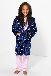 Boohoo Polka Dot Dressing Gown Navy
