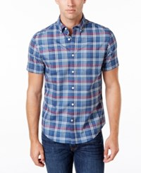 Tommy Hilfiger Men's Tailored Fit Darrell Plaid Shirt Ensign Blue Heather