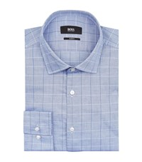 Boss Jex Slim Fit Grid Shirt Male Blue