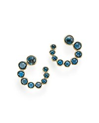Ippolita 18K Gold Lollipop Spiral Stone Earrings With London Blue Topaz Yellow Gold Blue