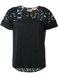 N 21 Nao21 Lace Panel T Shirt Black