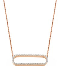 Monica Vinader Naida Open Rectangle Rose Gold Vermeil And Diamond Necklace