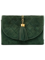 Chanel Vintage Quilted Clutch Green