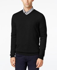 Club Room Big And Tall Cashmere V Neck Solid Sweater Deep Black