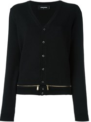 Dsquared2 Front Zip Panel Cardigan Black