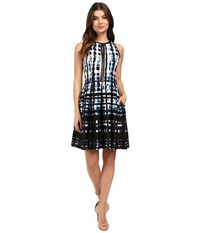 Vince Camuto Sleeveless Split Neck Fit And Flare Blue Women's Dress