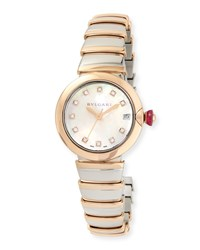 Bulgari 33Mm Lvcea Watch With Diamonds Two Tone Silver Bvlgari