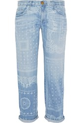 Current Elliott The Boyfriend Cropped Printed Mid Rise Jeans Blue