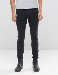 Asos Super Skinny Jeans With Faux Leather Waistband In Washed Black Black