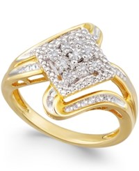 Macy's Diamond Cluster Ring 1 7 Ct. T.W. In Gold Plated Sterling Silver
