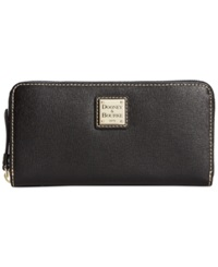 Dooney And Bourke Saffiano Large Zip Around Wallet Black
