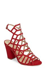 Vince Camuto Women's Naveen Cage Sandal Red Nubuck Leather