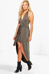 Boohoo Wrap Front Halter Skirted Maxi Dress Khaki