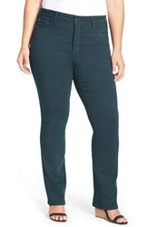 Plus Size Women's Nydj 'Marilyn' Stretch Straight Leg Jeans Blue Green