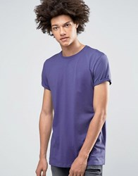 Asos Longline T Shirt In Bright Purple With Roll Sleeve Peacock