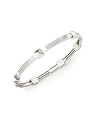 Marli Pyramide Diamond And 18K White Gold Boheme Oval Bangle Bracelet