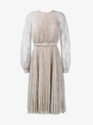 Erdem Floral Lace Pleated Dress Silver Mink