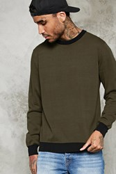 Forever 21 Contrast Trim Cotton Sweater Olive Black