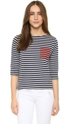 Chinti And Parker Printed Breton Top Navy Off White