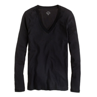 J.Crew Tissue Long Sleeve V Neck Tee Black