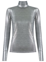 Gloria Coelho Turtle Neck Blouse Metallic