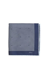 Brioni Chain Link Print Silk Pocket Square Blue Multi