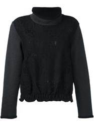 See By Chloe Floral Lace Panel Sweatshirt Blue