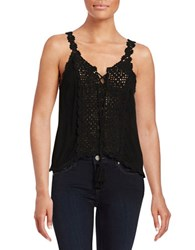 Vintage Havana Crochet Accented Tank Top Black
