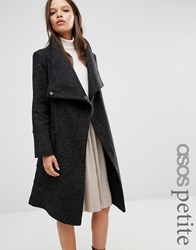 Asos Petite Wool Blend Coat With Funnel Neck Black