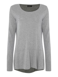 Crea Concept Drop Hem Long Sleeve Top Grey