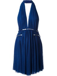 Jay Ahr Silver Tone Detail Halterneck Dress Blue