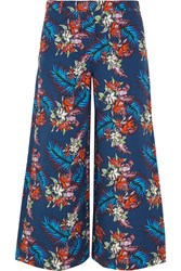 House Of Holland Bark Printed Slub Cotton Culottes Blue