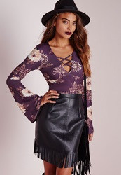 Missguided Floral Lattice Bell Sleeve Crop Top Purple Purple