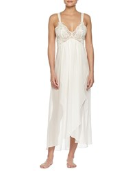 Jonquil Embroidered Lace Long Chiffon Gown Ivory Women's Size M
