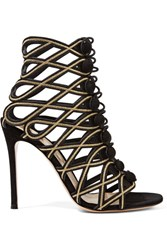 Gianvito Rossi Embroidered Suede Sandals Black