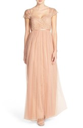 Women's Jenny Yoo 'Leighton' Off The Shoulder Lace And Tulle A Line Gown Cameo Pink