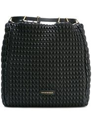Emporio Armani Quilted Drawstring Backpack Black
