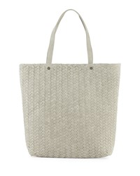 Neiman Marcus Distressed Woven Tote Bag Pale Gray