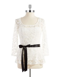 Chetta B Belted Lace Top Ivory
