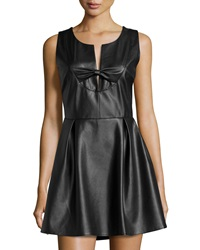 Madison Marcus Faux Leather Bow Front Dress Black