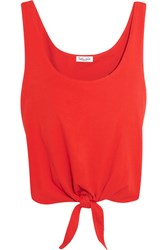 Splendid Tie Front Cotton Jersey Top Tomato Red