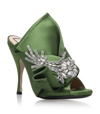 N 21 No. Satin Bow Flower Mules Female Green