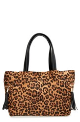 Junior Women's Emperia 'Leo' Animal Print Tote Bag Brown